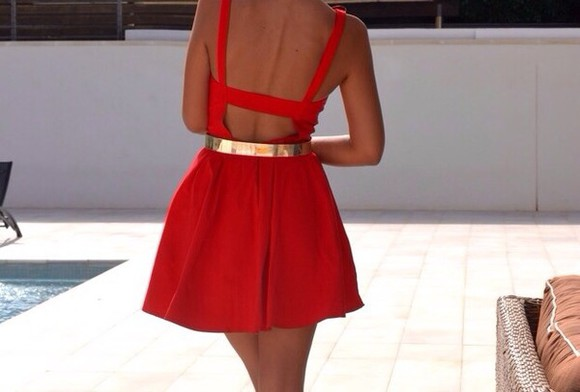 dress golden belt red dress short dress