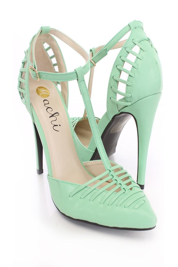 Mint single sole heels faux leather