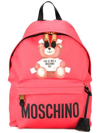 bear women backpack print purple pink bag