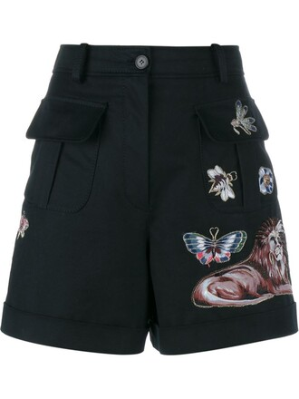 shorts embroidered wool black