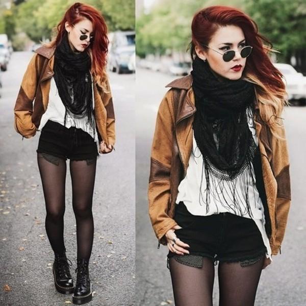 jacket scarf le happy sunglasses shorts