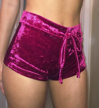 mini shorts pajamas velvet velvet shorts burgundy sexy shorts suede magenta velvet pink swade soft bright pink pastle clothes pants purple tumblr summer jumpsuit rose pink nike