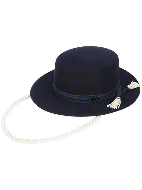 Maison Michel fur women pearl hat blue