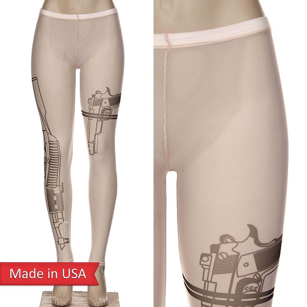 Mesh See Through Machine Gun Pistol Firearm Tattoo Print Leggings Tights Pants