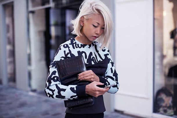 the haute pursuit blogger top jewels bag jacket alexander wang print jumper