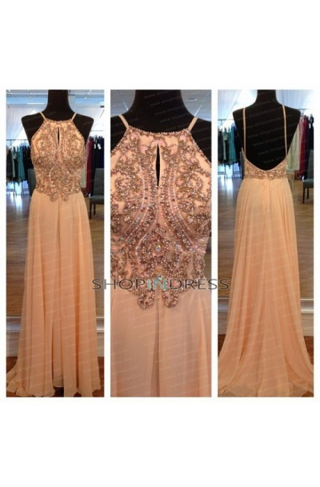 A-line Spaghetti Straps Floor Length Chiffon Blush 2014 Prom Dress with Beaded NPD1422 Sale at Shopindress.com