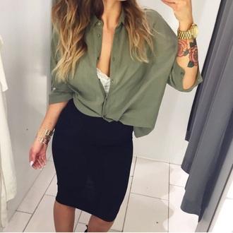 blouse kaki hair accessory top hat skirt shirt
