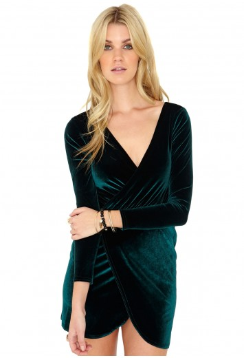 Janinka Velvet Wrap Dress - Dresses - Wrap Dresses - Missguided