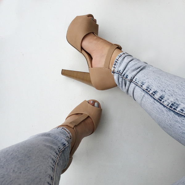 Natural Faux Leather Peep Toe Chunky Platform Heels @ Cicihot Heel