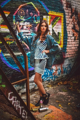 jacket oh my blog blogger two-piece peplum cut out ankle boots oversized denim jacket ripped
