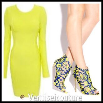 shoes yellow and blue color tribal pattern high heels rubber