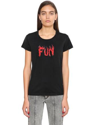 t-shirt shirt cotton print black top