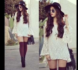 dress white dress lace dress white lace dress long sleeve dress long sleeve lace dress white sunglasses hipster hippie hippie chic cute shorts tights marron shoes skirt underwear socks maroonsocks cute socks
