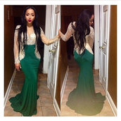 green prom dress,evening dress,long sleeve dress,backless prom dress,mermaid prom dress,evening gown with train