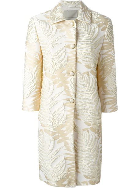 Ermanno Scervino coat women jacquard nude silk