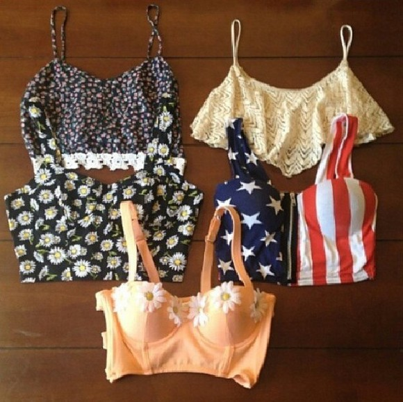 american flag blouse floral tank top bralette crop tops bustier daisies top daisies print floral printed bustier sexy shirt dai