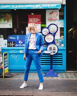jacket tumblr blue blazer blue pants pants matching set t-shirt white t-shirt sneakers white sneakers low top sneakers shoes