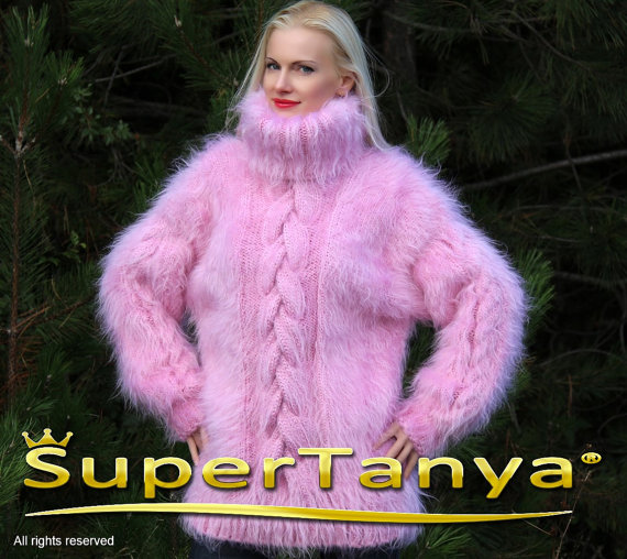 Hand knitted pink mohair sweater with cables by by supertanya