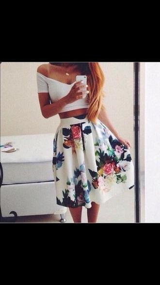 skirt white skirt floral skirt