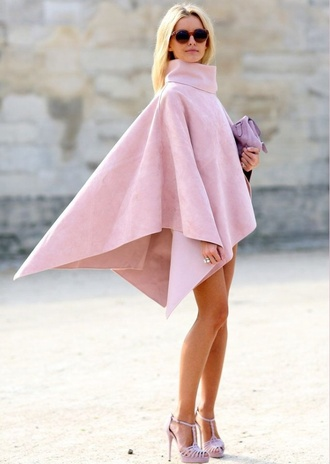 top baby pink turtleneck dress flowy poncho tumblr shirt turtleneck classy