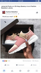 shoes,pink sneakers,low top sneakers,sneakers,pink,rose gold,bungee cord straps,tennis shoes,rose,laces,adidas shoes,adidas,nike,nike sneakers