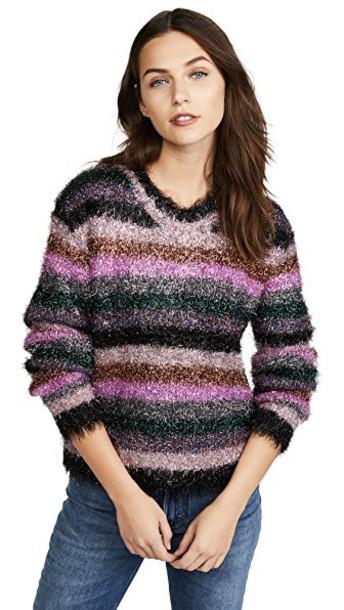 MILLY sweater fringe sweater metallic rainbow