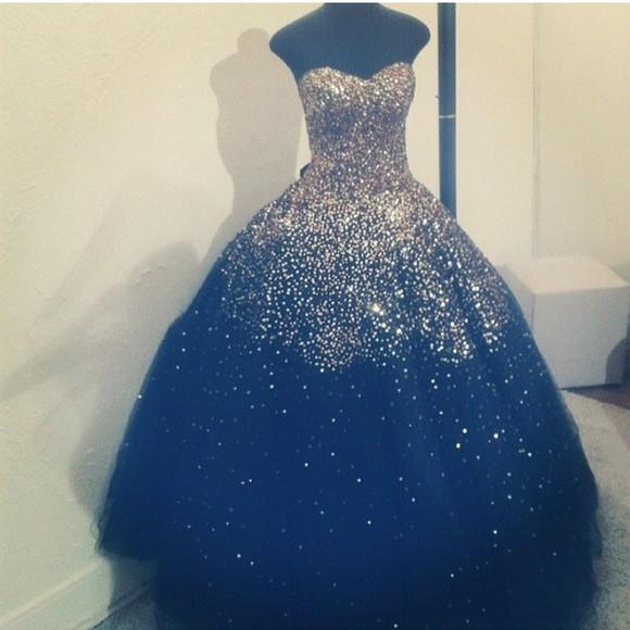 dress sparkly midnight blue blue dress prom dress senior chiffon dress long prom dress