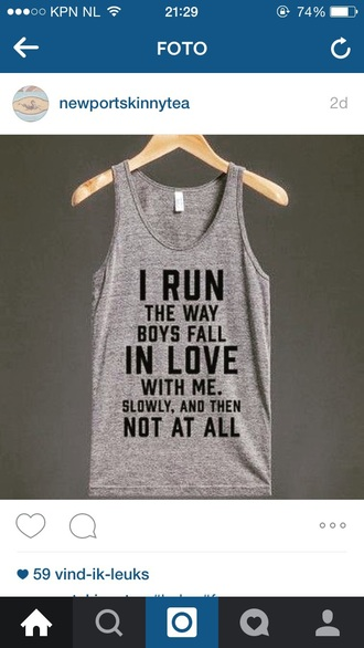 shirt sports top sport top tank top grey tank top guys love quote on it top sportswear love quotes