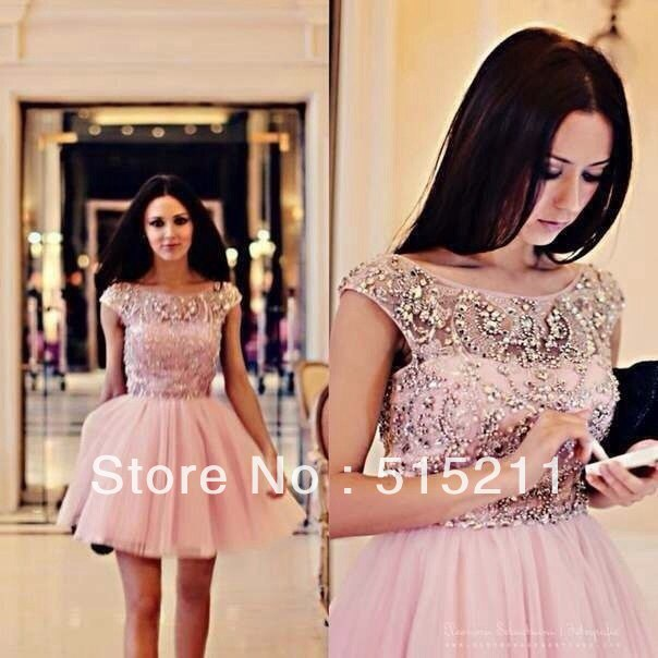 Modest Crystal Cap Sleeve Pink Tulle Semi Formal Cocktail Homecoming