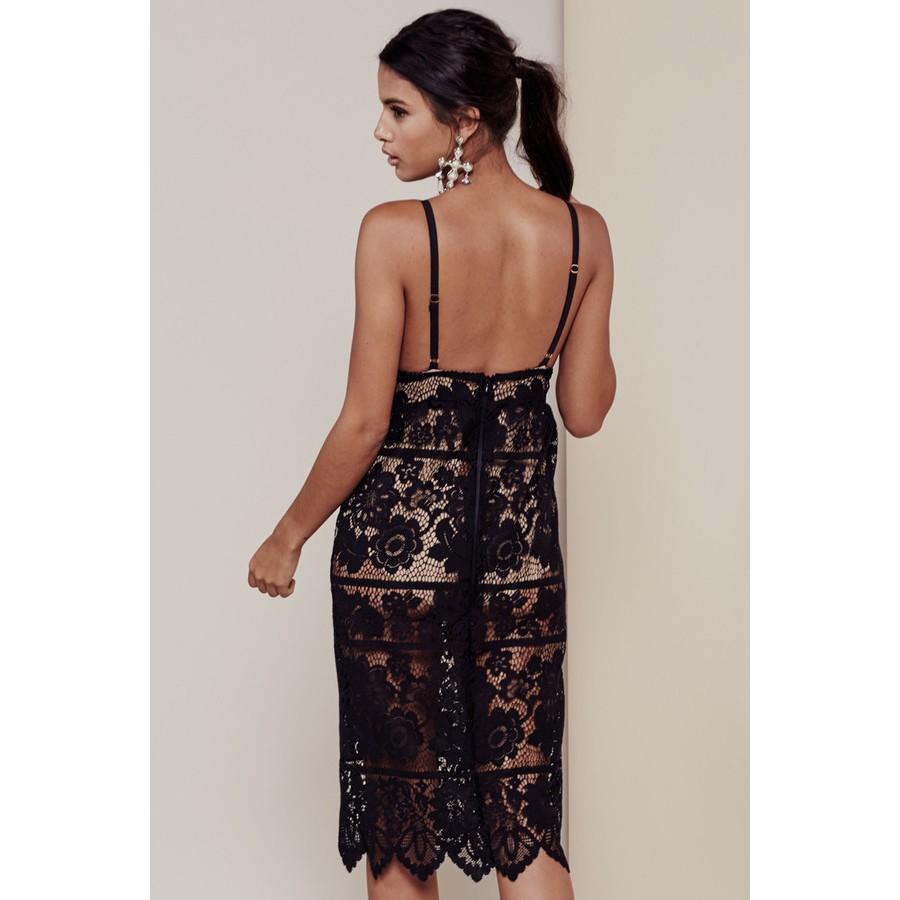 Black Lace Spaghetti Strap Midi Dress