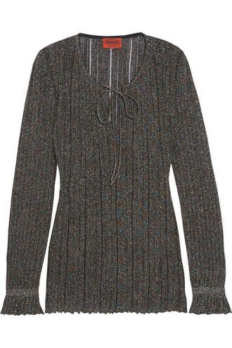 top knit metallic black crochet