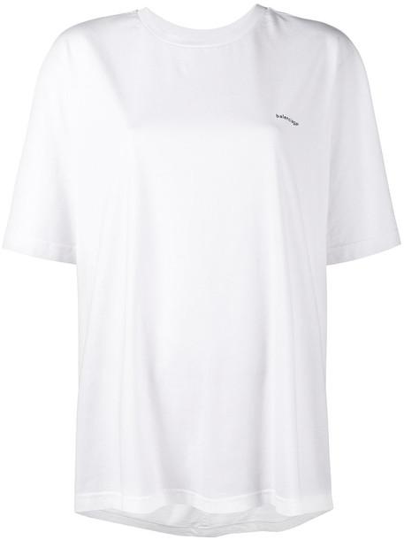 Balenciaga t-shirt shirt t-shirt women white cotton top