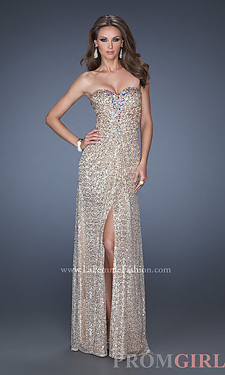 Strapless Sequin Gowns, La Femme Sequin Prom Dresses- PromGirl