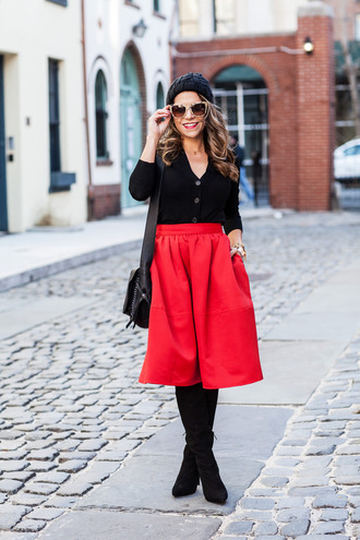 the corporate catwalk blogger cardigan red skirt black boots winter outfits