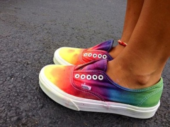 shoes rainbow vans color vans