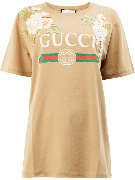 gucci t-shirt shirt t-shirt women nude cotton top