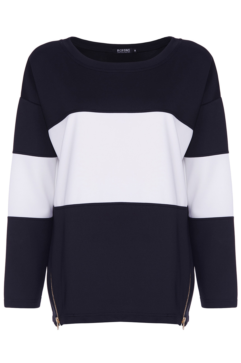 ROMWE | ROMWE Zippered Black and White Sweatshirt, The Latest Street Fashion