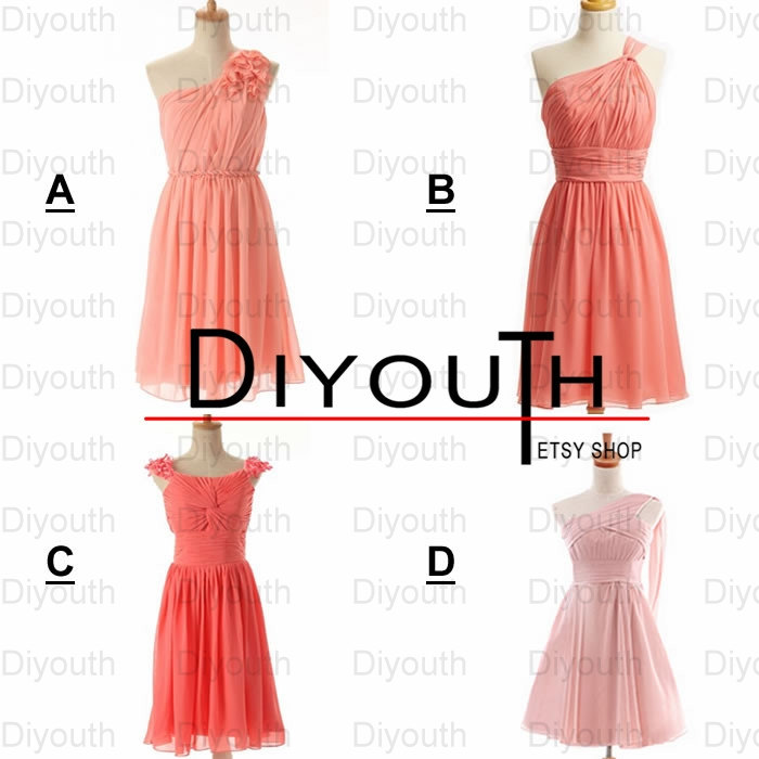 Short custom bridesmaid dress,coral bridesmaid dresses,knee-length ...
