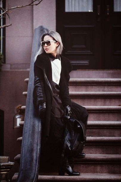 feral creature blogger top black and white black jacket shirt skirt jewels sunglasses