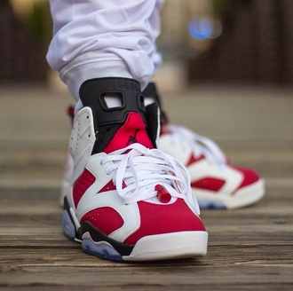 shoes red white style fashion jordans sportswear menswear mens shoes pants