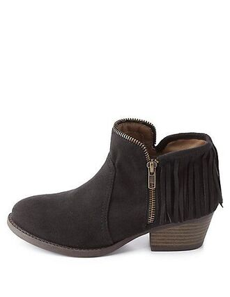 shoes zippertrim zippertrimmed black suede boots black suede booties suede booties boots boots black ankle boots black boots black booties zip fringe shoes fringes