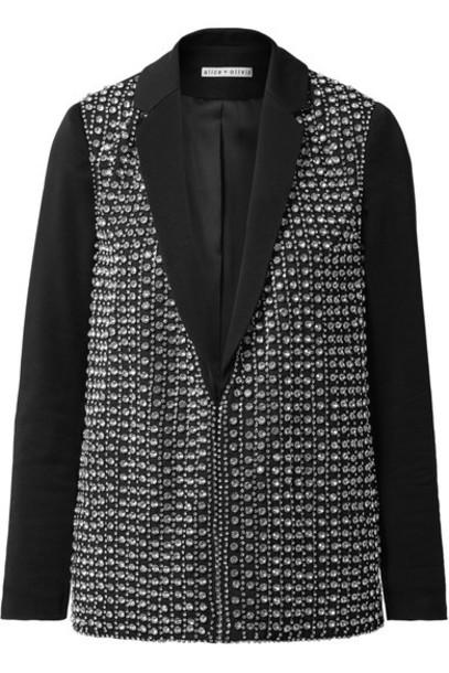 alice + olivia blazer embellished black jacket