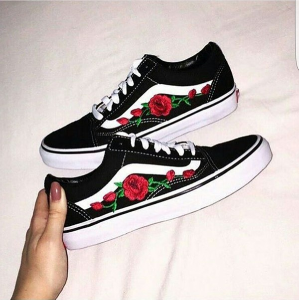 Shoes Basket Vans Flowers Customized Wheretoget