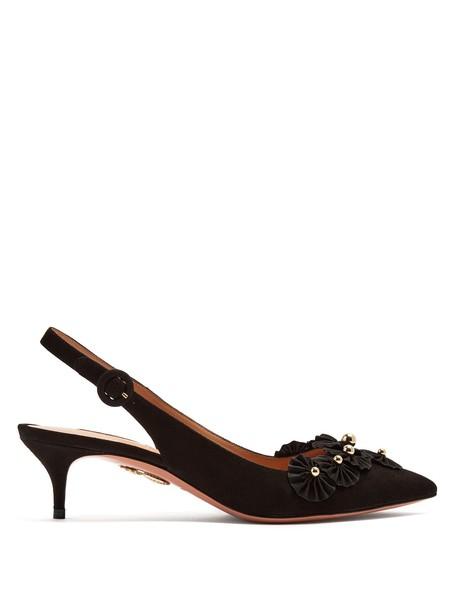 Aquazzura suede pumps embellished pumps suede black shoes