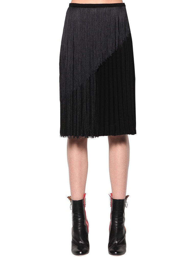 MARCO DE VINCENZO Fringed Pleated Cady Midi Skirt in black