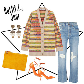 fashion foie gras blogger sweater jeans shoes bag jewels clutch high heels fall outfits