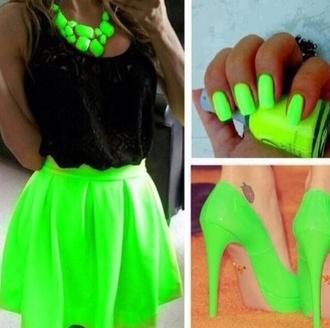 skirt grey swimwear lime lome green neon shirt