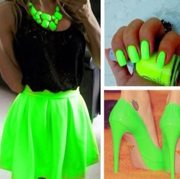grey swimwear lime lome green neon skirt