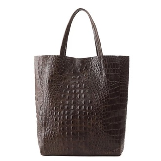 bag tote bag shopper bag black crocodile brown bag leather bag ostrich