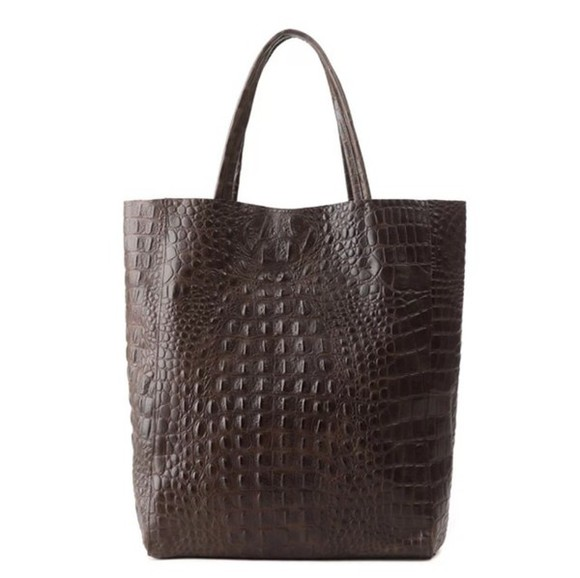bag brown bag leather bag crocodile black shopper bag tote bag ostrich